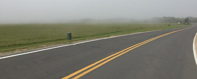 new england road field fog