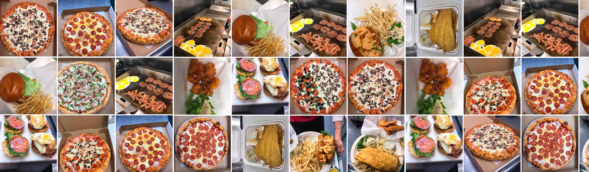 burgers pizzas subs seafood