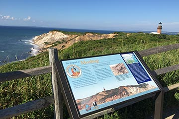 Aquinnah Cliffs Wampanoag legend of Moshup plaque in the summer