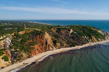 Aquinnah Gay Head cliffs ocean and beach in the summer drone view