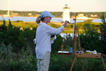 Martha's Vineyard artist painting the lighthouse