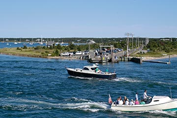 boats and ferry crossing Edgartown Chappaquiddick channel