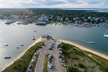 aerial view of Edgartown harbor from Chappaquiddick, drone shot in summer