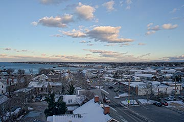 Vineyard Haven drone aerial view in the winter