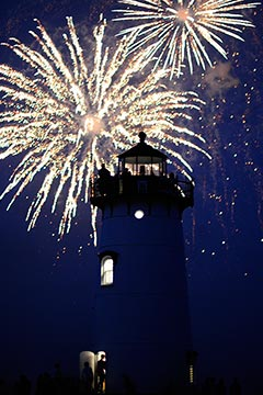 fireworks dark skies people on top of Edgartown lighthouse