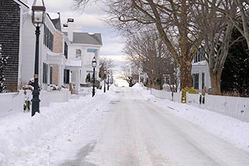 Edgartown downtown street snow in winter
