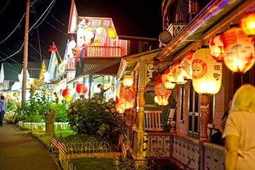 Oak Bluffs gingerbread houses chinese lanterns