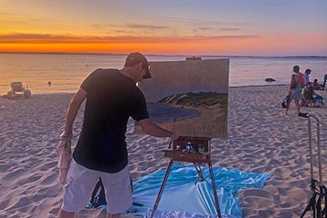 artists painting Lambert's Cove beach sunset West Tisbury