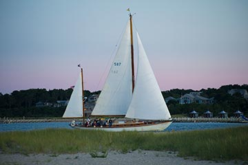 Martha's Vineyard sail boat on sunset in the summer