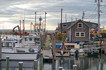 Menemsha dock fishing boats and seafood markets
