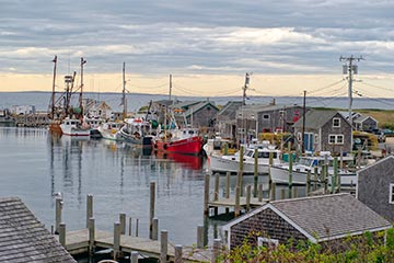 fishing boats and seafood shacks in harbor of Menemsha, Martha's Vineyard