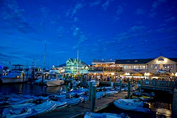 Oak Bluffs harbor deep blue dusk in the summer