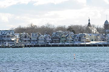 Oak Bluffs winter gingerbread houses in the winter
