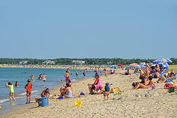 kids swimming people sunbathing Oak Bluffs/Edgartown Bend-in-the-Road Beach in the summer