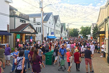 Tisbury Street Fair people on main street in the summer