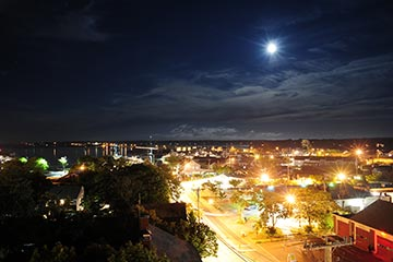 Vineyard Haven town street lights aerial shot on summer night