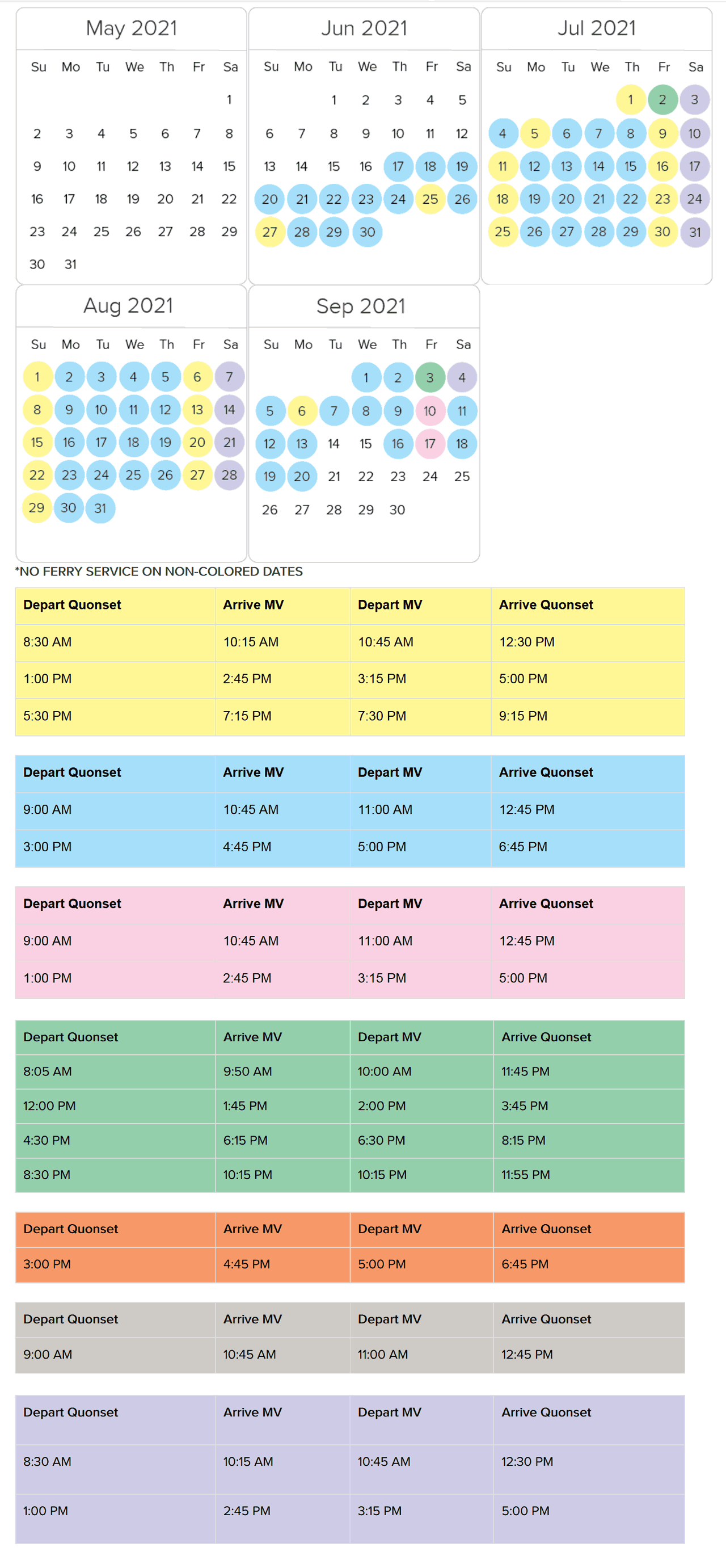 fast ferry schedule