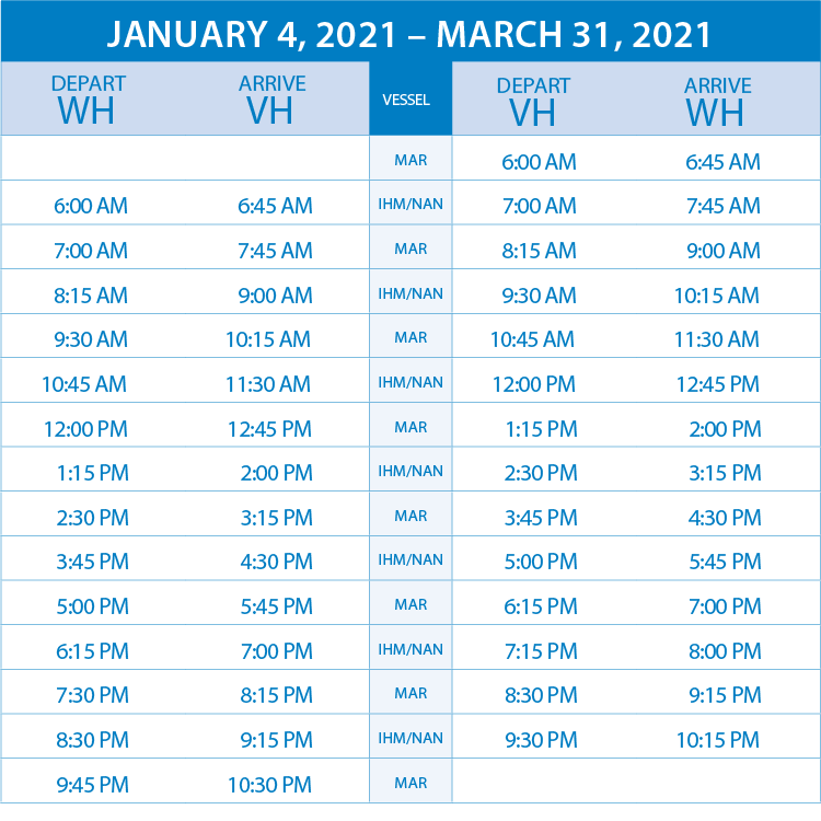 schedule jan to march