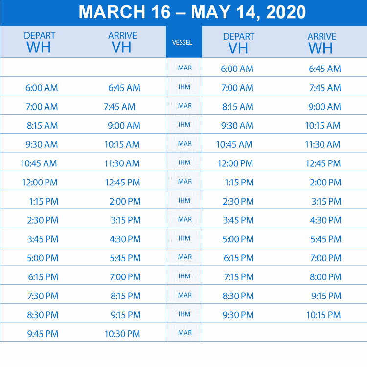 schedule march to may