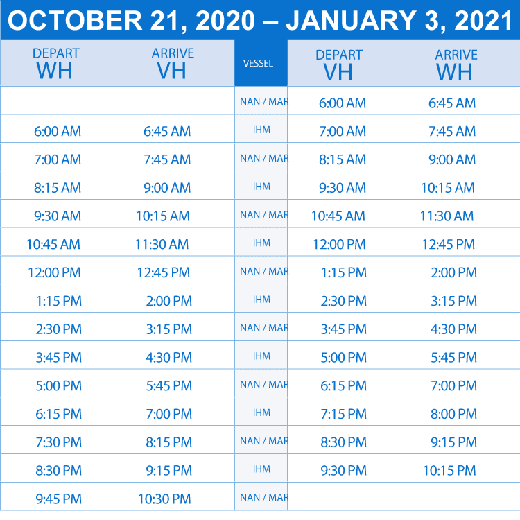 schedule  oct to jan