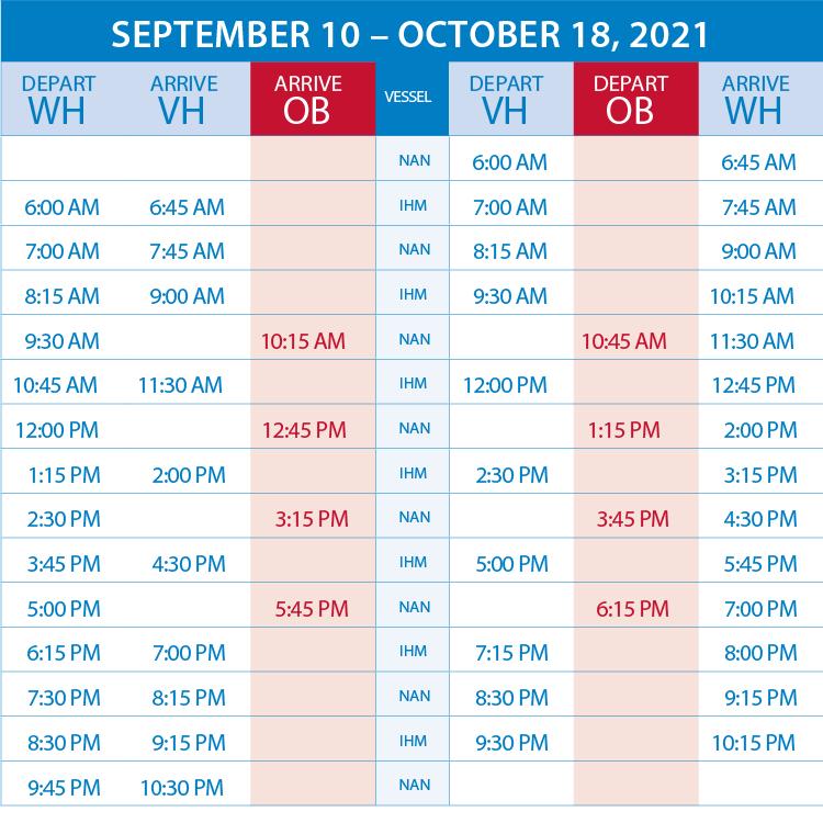 schedule sept to oct