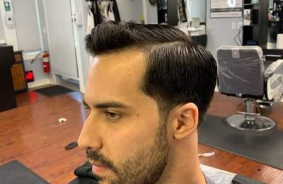 men's haircut and beard